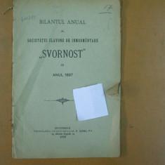 Bilantul anual al societatii slavone de inmormantare Svornost pe anul 1897 Bucuresti 1898 - Carte veche