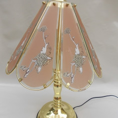 LAMPĂ MARE DE NOPTIERĂ, TREI BRAȚE / LUMINI, VINTAGE, ALAMĂ CU ABAJUR DE STICLĂ!
