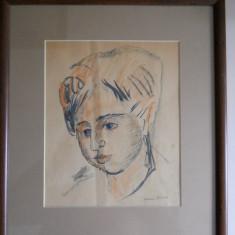 Nuni Dona - Portretul unei tinere, desen tus acuarelat, semnat