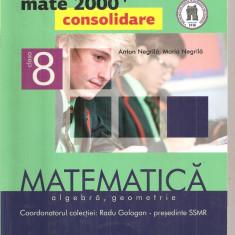(C4119) MATE 2000 CONSOLIDARE, ALGEBRA, GEOMETRIE DE ANTON NEGRILA, PARTEA II, CLASA A 8-A, EDITURA PARALELA 45, COLECTIE COORDONATA DE RADU GOLOGAN - Manual scolar paralela 45, Clasa 8