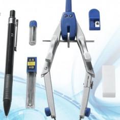 Set compas cu creion mecanic, mine de rezerva, etc - super calitate - 6 piese - Instrumente desen, Cu mecanism