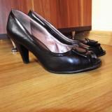 Pantofi negri cu fundita marimea 36 - Pantof dama, Culoare: Negru, Negru, Marime: 36.5