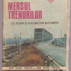 CFR - Extras Din MERSUL TRENURILOR - CU SOSIRI SI PLECARI DIN BUCURESTI - 28 MAI 1989 - 26 MAI 1990