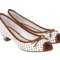 Noi! Sandale piele decupate superbe, GEOX, femei marimea 40 - Sandale dama Geox, Culoare: Alb, Piele naturala