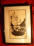 Tablou -Tus- Sighisoara 1918 , semnat
