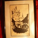 Tablou -Tus- Sighisoara 1918, semnat - Pictor roman