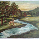 Pictura veche pe ulei / panza - Tablou autor neidentificat, Peisaje, Altul