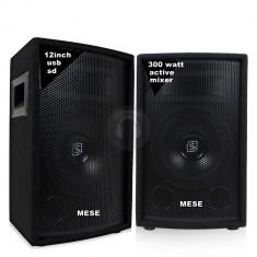 2 BOXE ACTIVE PROFESIONALE, MIXER, MP3 PLAYER, 300 WATT+2 MICROFOANE BONUS.NOI. - Boxa activa