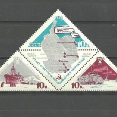 RUSIA 1966 - HARTA SI EXPEDITIE POLARA, bloc (urma de culoare pe spate), N4