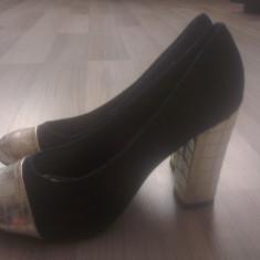 Pantofi NOI - 38 - material de blug - toc inalt si gros! - Pantof dama, Culoare: Albastru