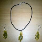 Set bijuterii din sticla si piele - Set bijuterii handmade si fashion