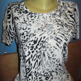 Bluza de ocazie animal print noua! - Bluza dama, Marime: L, Culoare: Multicolor, Maneca scurta, Vascoza