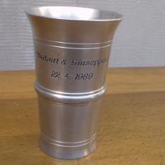 Pahar  / pocal -metalic- gravat H 10cm / GIUSEPINA