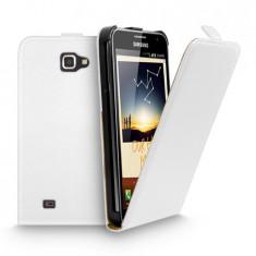Toc piele alba husa flip Samsung Galaxy Note i9220 + folie protectie ecran + expediere gratuita toc flip
