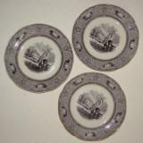 Raritate !!! Trei farfurii pentru supa din portelan Gustafsberg Carrara, anii 1890