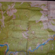 Harta veche, turistica, Masivul Cozia, Nicolae Popescu, Danut Calin - Harta Romaniei