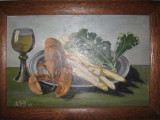 NATURA MOARTA , veche PICTURA IN  ULEI  , semnata , inramata / tablou
