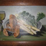 NATURA MOARTA, veche PICTURA IN ULEI, semnata, inramata / tablou - Pictor strain