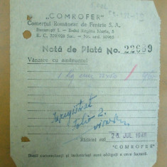Nota de plata Comrofer Comertul romanesc de fierarie Bucuresti 1948 - Hartie cu Antet