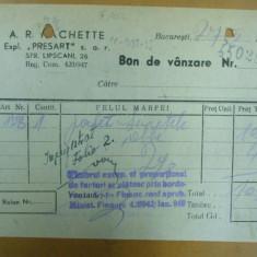 Bon de vanzare A. R. Hachette Bucuresti 1948