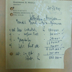 Nota de plata materiale arhitect Gh. Mazilu Bucuresti 1941 - Hartie cu Antet