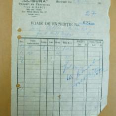Foaie de expeditie Clisura Depozit de cherestea D. Babus Bucuresti 1943 - Hartie cu Antet