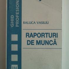 RAPORTURI DE MUNCA - RALUCA VASILIU - Carte Istoria dreptului