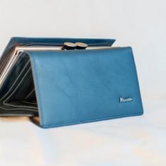 Portmoneu / Portofel Hassion din piele M 2155 Blue, Albastru