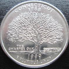 (47) SUA USA QUARTER DOLLAR 1999 CONNECTICUT MONETARIA DENVER LITERA