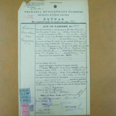 Extras act nastere Primaria Ploesti 1923 + bilet Primaria Ploesti - Hartie cu Antet