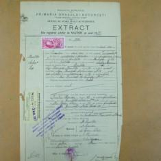 Extract Primaria Bucuresti Plasa Baneasa Ilfov 1920 Act nastere - Hartie cu Antet