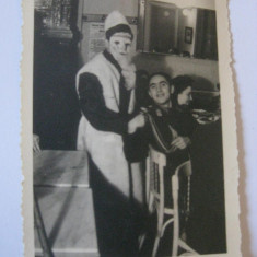 FOTOGRAFIE MOS CRACIUN CU OFITER DIN ANII 40 - Fotografie veche