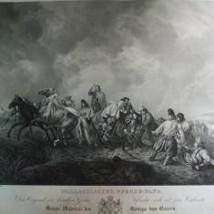 Gravura Calareti din Valahia 1825 Peter Hefs Walachischer Pferde - Fang Munchen 1825 - Pictor roman