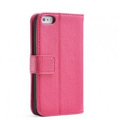 Husa / toc protectie piele iPhone 5, 5s, SE, tip flip cover portofel, roz
