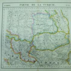 Harta Imperiul otoman cu Transilvania, Valahia, Moldova, Serbia, Macedonia, Bulgaria, Ungaria Ph. Vandermaelen Partie de la Turquie Bruxelles 1827