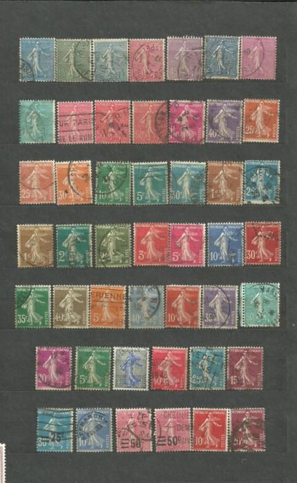 FRANTA - SEMANATOAREA, serie stampilata DEPARAIATA , LOT81