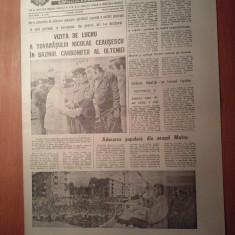 Ziarul informatia bucurestiului 2 septembrie 1980 (vizita lui ceausescu in orasele rovinari si motru )