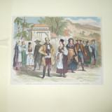 Gravura color costume ale locuitorilor din Transilvania 1877 - 1878