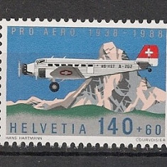 Elvetia.1988 50 ani Posta aeriana-Aviatie SE.9 - Timbre straine