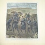 Gravura color in fata Plevnei romanii fac transee pana la a doua reduta a Grivitei 1877