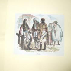 Gravura color Oameni din Valahia - Pictor roman