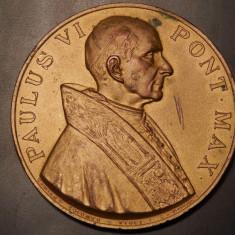AuX: Paulus VI Pont Max Vatican. Medalie catolica jubiliara rara. Anno Jubilaei MCMLXXV. 5 cm, 63, 5 grame, material posibil cupru sau bronz, frumoasa!, Europa