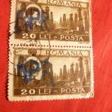 Pereche 20Lei Mihai uzuale, supratipar RPR de mana -Fals in dauna Postei, stamp. - Timbre Romania