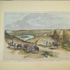 Gravura color Moldova Platoul Tighina aproape de confluenta Dunarii cu Siretul - Pictor roman