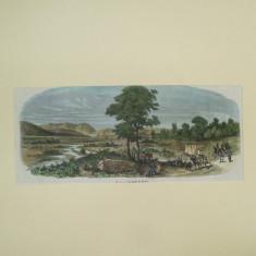 Gravura color malurile Prutului - Pictor roman