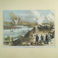 Gravura color Aruncarea in aer a barcii turcesti de razboi a lui Lufti Djelil vazuta de la bateria ruseasca din Braila 1877 - 1878