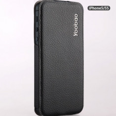 Husa Toc Flip Case Slim Apple iPhone 5 5S Black by Yoobao Originala - Husa Telefon