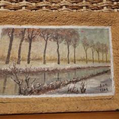 Tablou pictura lemn semnat 1948 - Pictor roman, Peisaje
