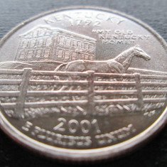 (56) SUA USA QUARTER DOLLAR 2001 KENTUCKY MONETARIA DENVER LITERA