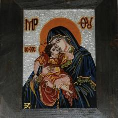 """Icoane pe sticla - """"Maica Domnului cu pruncul Iisus"""""""